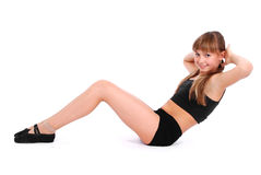Fitness girl isolated on white Stock Photography