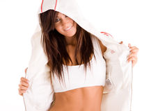 Fitness girl in jacket royalty free stock photos
