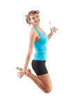 Fitness girl jumping. Beautiful fitness girl jumping isolated on white background Royalty Free Stock Images