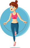 Fitness Girl Jumping Rope Vector Cartoon Royalty Free Stock Photography