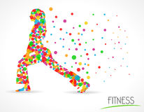 Fitness girl label, Fitness Model Illustration, flat color circle style graphic Royalty Free Stock Photo