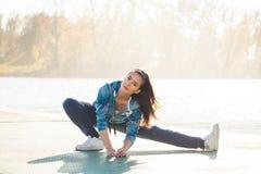 Fitness girl at lake Royalty Free Stock Photo