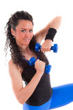 Fitness girl lifting weights Royalty Free Stock Images