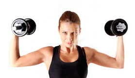 Fitness girl lifting weights Stock Photos