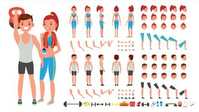 Fitness Girl, Man Vector. Animated Sport Male, Female Character Creation Set. Full Length, Front, Side, Back View. Accessories, Poses, Face Emotions Gestures Stock Images