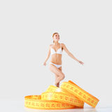 Fitness girl and measurement figures Royalty Free Stock Image