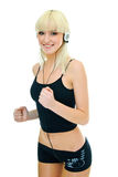 Fitness girl music Stock Photo