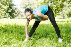 Fitness Girl Outdoor Royalty Free Stock Photography