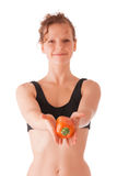 Fitness girl with papper Stock Photo