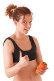 Fitness girl with papper, thumb Stock Photos