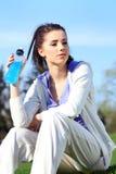 Fitness girl in park Stock Photos