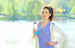 Fitness girl in park Royalty Free Stock Image