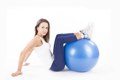 Fitness girl with pilates ball Royalty Free Stock Photo