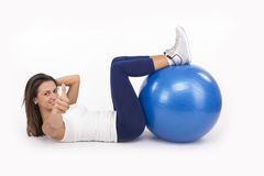 Fitness girl with pilates ball Stock Photography