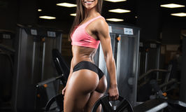 Fitness girl posing in the gym. Fitness girl with a beautiful smile posing in the gym royalty free stock photo