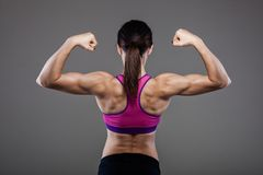 Muscular back of a fitness girl Stock Photography