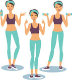 Fitness girl Set Stock Photos