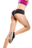 Fitness girl with and legs, running. Fitness girl. and legs of athletic woman. Running pose royalty free stock photography
