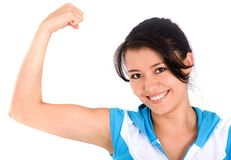 Fitness girl showing her bicep Stock Image
