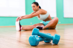 Fitness girl in sport club Royalty Free Stock Image