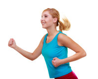 Fitness girl sport woman running jogging isolated Royalty Free Stock Photo