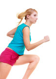 Fitness girl sport woman running jogging isolated Stock Image