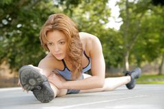 Fitness Girl Stretching Stock Images