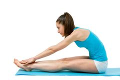 Fitness girl touching toes. Young fitness girl touching toes. on white background Stock Images