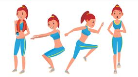 Fitness Girl Vector. Set. Various Views. Aerobic And Exercises. Full Body Workout. Female Fitness. Flat Cartoon vector illustration