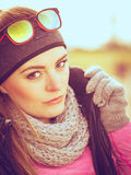 Fitness girl wearing warm sporty clothes in cold day Stock Images