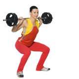 Fitness girl with a weight. Isolated on white Royalty Free Stock Photos