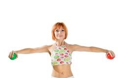 Fitness girl on white Royalty Free Stock Photo