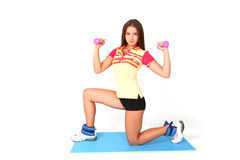 Fitness girl on white background Royalty Free Stock Images