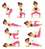 Fitness girl woman sport exercise vector character workout beautiful athlete. Women sport exercise lifestyle training. Female. Workout fit young adult active Royalty Free Stock Photography