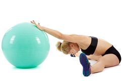 Fitness girl working with gym ball Royalty Free Stock Photos