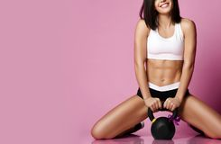 Free Fitness Girl Working Out With Big Weight Dumbbell Happy Smiling On Pink. Sport Work Out Concept For Woman Day 8 March Stock Photos - 139814333