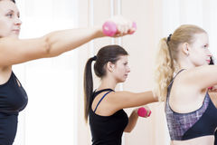 Fitness Girls Exercising with Barbells In Gym Indoors.Horizontal Image Royalty Free Stock Photography