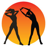 Fitness girls silhouettes. Over colourfull background. Vector illustration Stock Image
