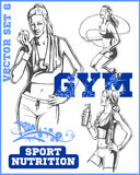 Fitness girls - vector set Royalty Free Stock Image