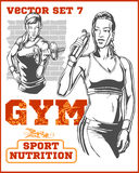 Fitness girls - vector set Stock Photo