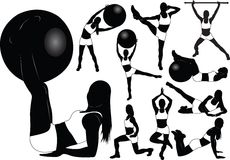 Fitness girls vector silhouettes. Girl's silhouette doing fitness exercises. Vector illustration Royalty Free Stock Photography