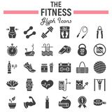 Fitness glyph icon set, sport symbols collection. Vector sketches, logo illustrations, healthy diet signs solid pictograms package isolated on white background royalty free illustration