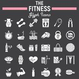 Fitness glyph icon set, sport symbols collection. Vector sketches, logo illustrations, healthy diet signs solid pictograms package isolated on black background Stock Images