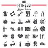 Fitness glyph pictogramreeks, de inzameling van sportsymbolen royalty-vrije illustratie