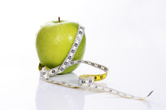 Fitness green apple Stock Photos