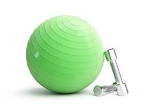 Fitness green ball chrome weights Stock Photography