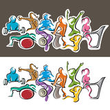 Fitness Group. Group Fitness Graffiti Design showing all exercises Royalty Free Stock Image
