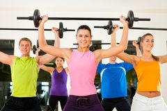 Fitness group with barbell in gym Stock Images
