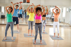 Fitness group dancing Stock Images
