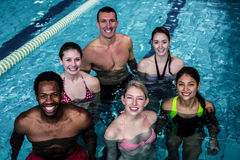 Fitness group doing aqua aerobics Royalty Free Stock Photography